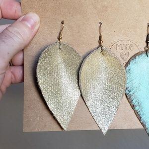 Jewelry - 3 Inch   Gold Leather Petal Earrings